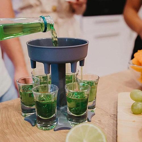 6-Shot Glass Dispenser Holder Wine Whisky Beer Dispenser Rack Bar Accessory Drinking Party Games Glass Dispenser Drinking Tools
