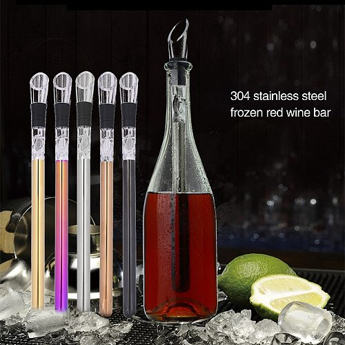 Stylish Quick-frozen Ice Bucket Stainless Steel Barware Wine Pourer With Chill Rod Bottle Coolers Chiller Stick Spout Aerator
