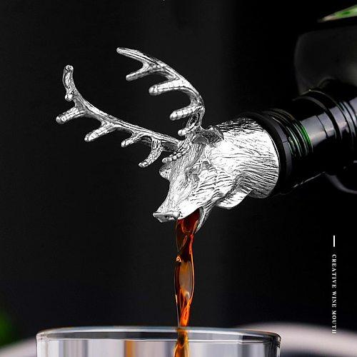 Deer head stainless steel pourer, animal wine stopper, wine bottle cap, deer, cow, lion, leopard, antelope, rhinoceros pourer