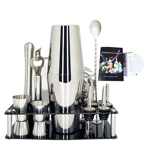 Premium Shakers Barware Set 1-13 Pieces Bartender Kit Includes shaker , rack, spoon, pourer, straw & ice tong  Cocktail Shaker