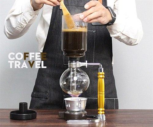 XMT-HOME Glass syphon coffee pot tea siphon manual coffee maker machine mini alcohol burner set
