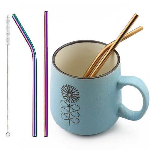 2pcs Drinking Straws 18/10 Stainless Steel Straw Reusable Straw Colorful Mteal Straw Coffee Party Bar Straw With Cleaner Brush