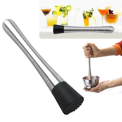 Outset Stainless Steel Cocktail Muddler-Bar Mixed Drink Mojito Barware Mixer Cocktail Whisks Kitchen Barware Bar Tools
