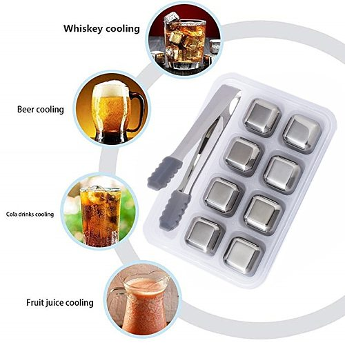 Stainless Steel Ice Cubes Bucket Bar KTV Magic Vodka Whiskey Stone Wine Whisky Beer Cooler Holder Chiller Tool,keep Cold Longer