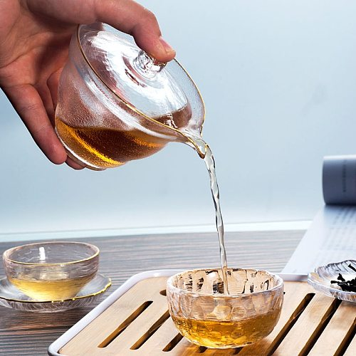 Japanese Style Glass Gaiwan Tea Cup and Lid Gold Painted Gongfu Tea Chinese Tea Bowl 150ml