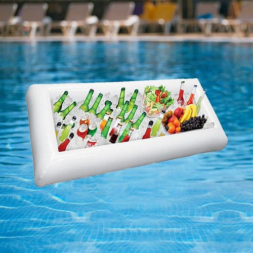 White Inflatable Ice Trough Durable PVC Water Entertainment Salad Plate Stand Outdoor Ice Bucket Bar Tools and Glass Wine Bottle