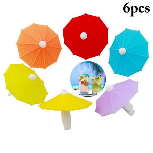 Silicone Party Umbrella Wine Glass Marker Charms 6pcs Drinking Buddy Cup Identification Cup Identifier Cup Label Tag Sign Mark