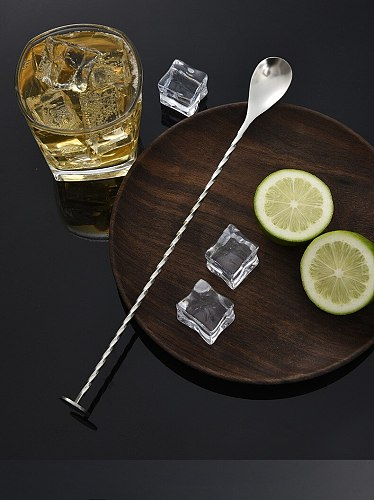 High Quality Stainless Steel Cocktail Bar Spiral Pattern Drink Shaker Stirrer Twisted Mixing Spoon Kitchen tableware Bar tools