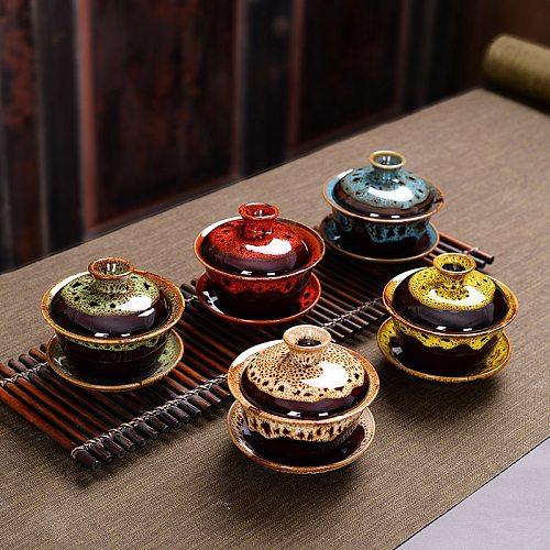 Chinese Gaiwan Tea Set fish Kung Fu Tea Tureen Kiln change Gai wan multicolor Teaware Sancai Tea Cup travel Beautiful kettle