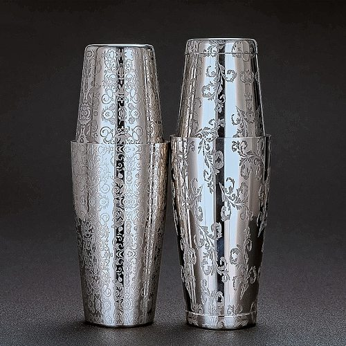 New Style Boston Cocktail Shaker With Etched Pattern Tin Set - 800ml & 500ml