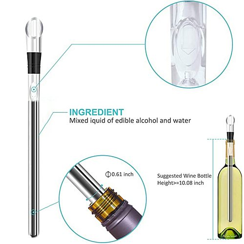Portable Wine Bottle Cooler Stick Stainless Steel Wine Chilling Rod Leakproof Wine Chiller Beer Beverage Frozen Stick Ice Cool