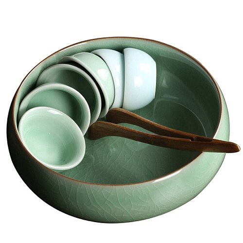 Large tea wash bowls Chinese gongfu tea accessories ceramic tea cup tray bowls 1pc