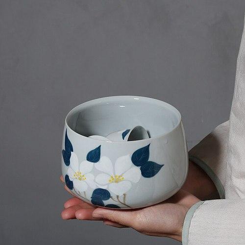 PINNY 800ML Hand Painted Camellia Tea Wash Bowls Ceramic Chinese Kung Fu Tea Ceremony Accessories Handmade Tea Service
