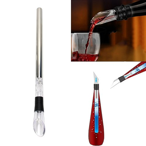 Stainless Steel Frozen Stick Ice Wine Cooler Chiller Stick with Wine Pourer Wine Cooling Stick Cooler Beer Bar