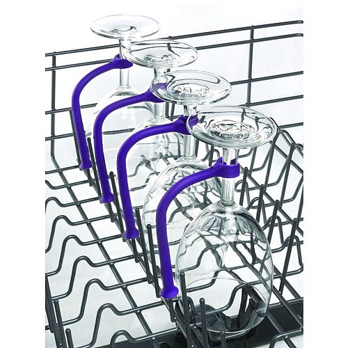 4Pcs Adjust Flexibly Silicone Wine Glass Dishwasher Goblet Purple Holder Safer Stemware Saver #25