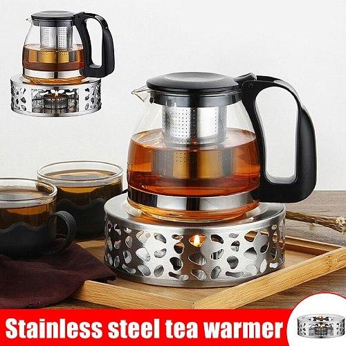 Portable Tea Holder Durable Stainless Steel Candle Base Warmer Tea Light Holder Trivets Coffee Teapot Warmer Heating Base