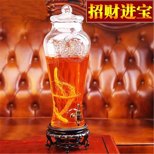 Empty non-lead thick glass wine bottle enzyme barrel jar with tap traditional Chinese medicine liquor bottle ginseng wine bottle