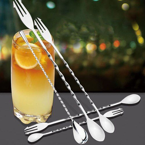 1Pcs Durable Stainless Steel  Kitchenware Stirring Rod Cocktail Fork Spoon Bar Appliances Cocktail Double Head Spiral Shape