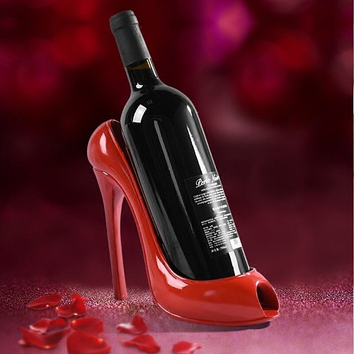 New High Heel Shoe Wine Bottle Holder Stylish Wine Rack Gift Basket Accessories  for Home Red Shoe Wine Rack Creative Bottle Hol
