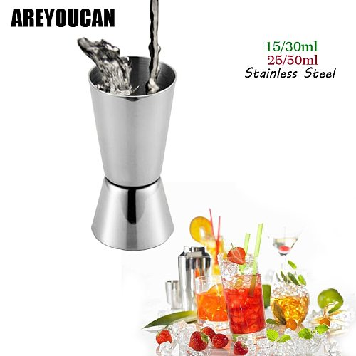 AREYOUCAN New Arrival 15-30ml 25-50ml Double End Jigger Shot Measure Cup Cocktail Drink Wine Shaker Stainless Bar Accessories