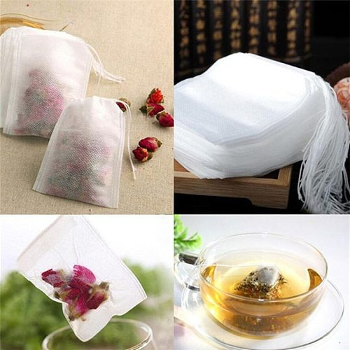 100Pcs/Lot Teabags 5 x 7CM Empty Scented Tea Bags With String Heal Seal Filter Paper for Herb Loose Tea Infuser Bolsas de te