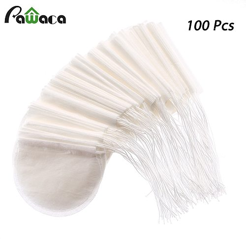 Round Tea Bags 100 Pcs/Lot Teabags Empty Scented Tea Bags Filter Infuser with String Heal Seal Paper Teabags for Herb Loose Tea