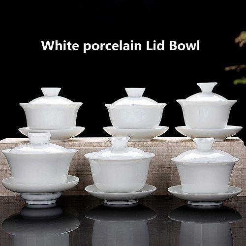 High White Porcelain Tea Set Sancai Bowl Cover Bowl Tea Maker Large Teacup Pure White Porcelain Respect Tea Bowl