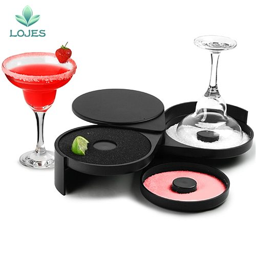 New Glass Rimmers 3 Tier Salt Sugar Margarita Cocktail Glass Rimmer Home Bar Accessory Tool Bartender