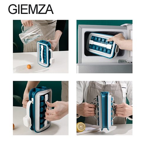 GIEMZA 2-in-1 Ice Box Mould Fold Drink Hockey Frozen-ice Cube Mold Seal Homemade Kettle Bar Accessories Portable