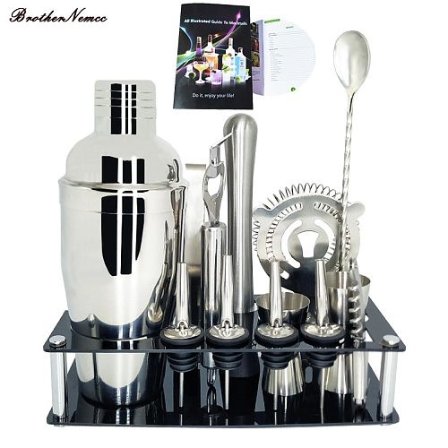 1-13 Pieces Professional Bar Tools for Bartenders Cocktail Shaker Bar Set with Cocktail Bar Rack Stand
