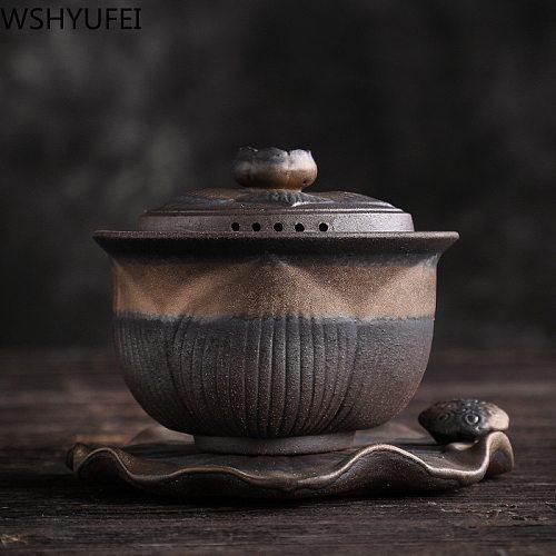Retro Ceramic gaiwan tea cup handmade tureen lid bowl chinese tea bowl saucer Jingdezhen tea set drinkware Personal Cup