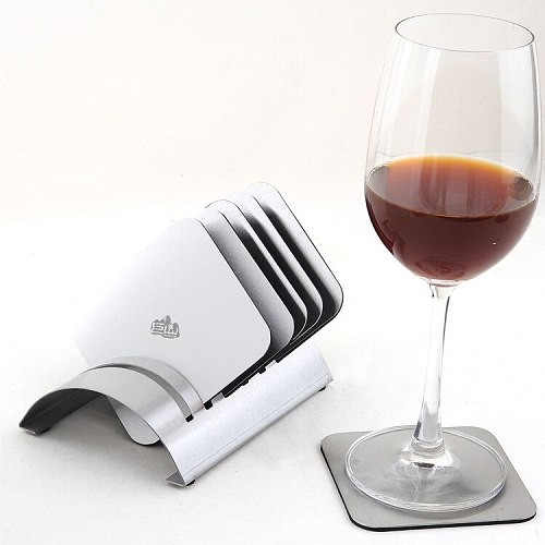 1set Square stainless steel wine coaster set creative insulation pad combination bowl mat 6pcs coasters+1pc shelf  KJ 3012