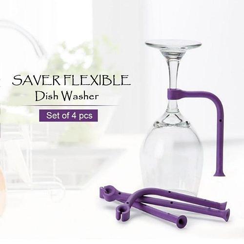 4 pcs Wine Glass Rack Flexible Silicone Goblet Holder Dishwasher Bracket Creative Stemware Holder Bar Kitchen Tools Fixed Holder