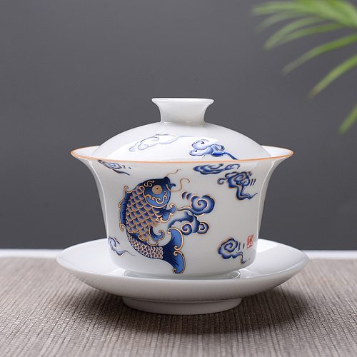 High quality white bone china Gaiwan Tea Set,Travel Ceramic Tea Set,White Kung fu tea set,Chinese Porcelain Gaiwan cup