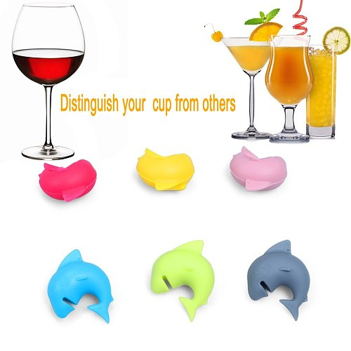 2 X Set Creative Shark Shape Wine Glasses Recognizer Marker Suction Cup Party Dedicated Accessories 2 Set=12Pcs