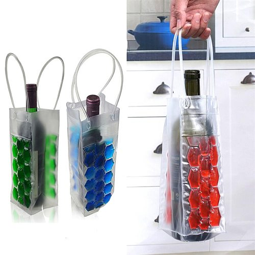 Wine Bottle Freezer Bag Beer Chilling Cooler Bag Ice Cooling Gel Holder Carrier Portable Liquor Ice-Cold Tools &Chillers PVC Bag