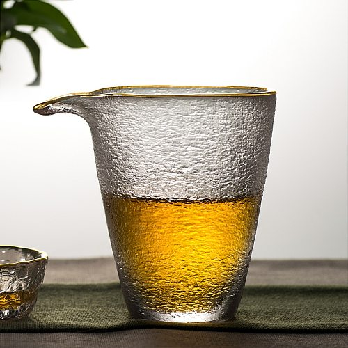Japanese Style Glass Fair Cup Simple with Glod Rim Tea Maker Kung Fu Tea Lique Divider Gongdao Mug Teaware