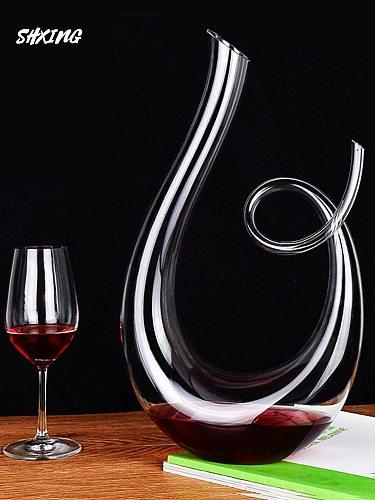 Crystal High Grade  6-shaped Wine Decanter Gift Box Harp Swan Decanter Creative Wine Separator 1500ml
