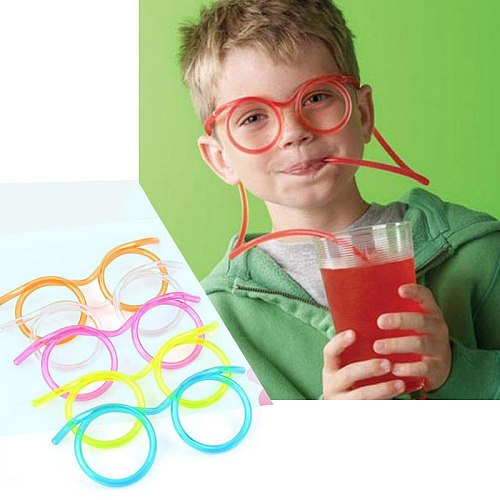 1 Pcs Fun Soft Plastic Straw Glasses Flexible Drinking Straws Tube Tools Kids Novelty Toy Party Supplies Bar Supplies