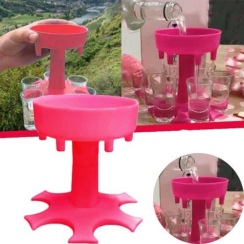 6 Shot Glass Dispenser Holder Caddy Liquor Dispenser Portable Dispenser Party Gifts Bar Accessory Drinking Games Glass Dispenser