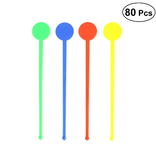 80Pcs Swizzle Sticks Colorful Round Head Acrylic Resuable Stirring Sticks Martini Picks Beverage Stirrers for Wine Juice Coffee