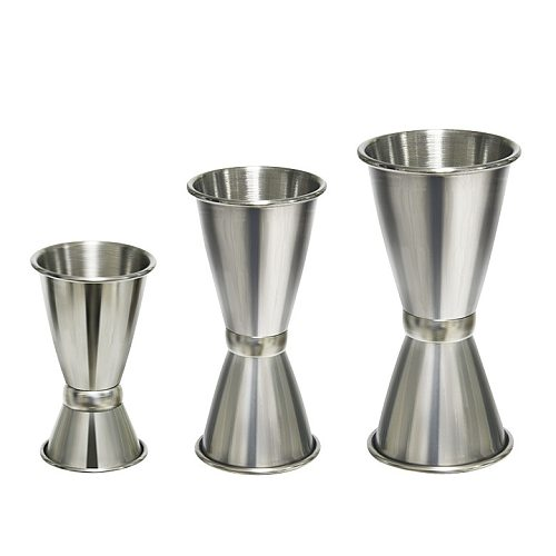 Stainless Steel Bar Wine Cocktail Shaker Jigger Single Double Shot Drink Mixer Wine Pourers Measurer Cup Bar Tools 3 Size