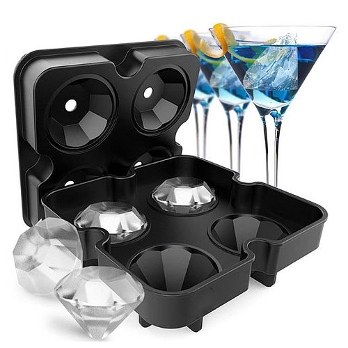 4 Cell  Ice  Mold Silicone Ice Cube Tray Whiskey  Maker Ice Cream Molds Form Chocolate Mold For Party Bar