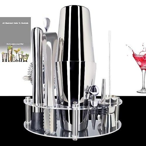 Professional Stainless Steel Martini Drink Shaker Home Bar Tools 750/600/450ml Cocktail Shaker Set Bartender Kit Stand