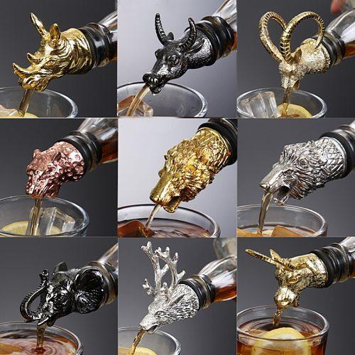 1Pcs Wine Pourer Zinc Alloy Deer Elk Lion Bull Leopard Antelope Head Wine Stopper Drinks Bar Tools Night Club Bar Accessories