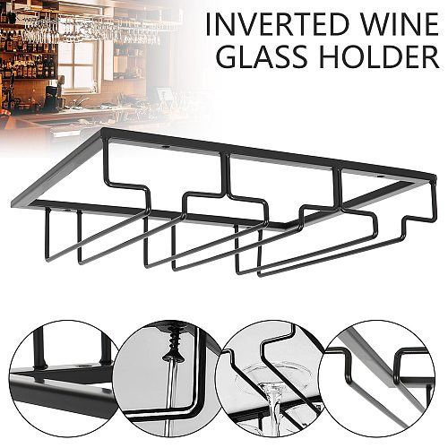 Wine Glass Rack Under Cabinet Stemware Wine Glass Holder Glasses Storage Hanger Metal Organizer for Bar Kitchen 6-9 Cups