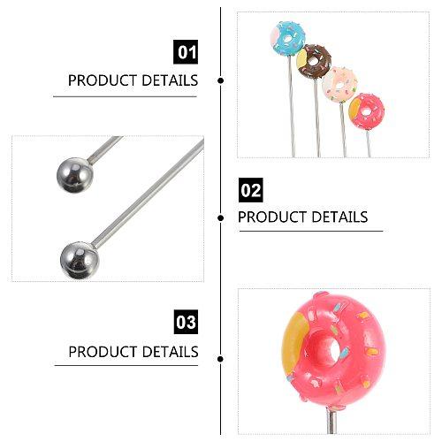 4Pcs Donut Shape Blender Stainless Steel Swizzle Stick Cocktail Coffee Stirrer Kitchen Accessories