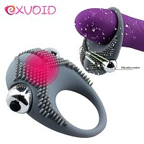 EXVOID Penis Vibrating Ring Delay Ejaculation Bullet Vibrator Clitoris Massager Adult Sex Toys for Men Male Cock Silicone Rings
