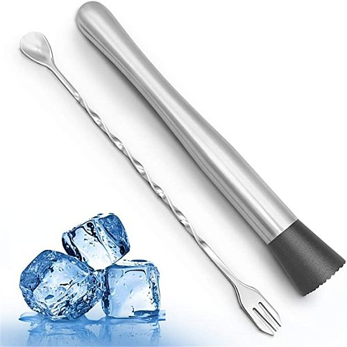 8 Inch Cocktail Muddler and Mixing Spoon, Stainless Steel Cocktail Muddler Home Bar Bartender Tool Barware Set