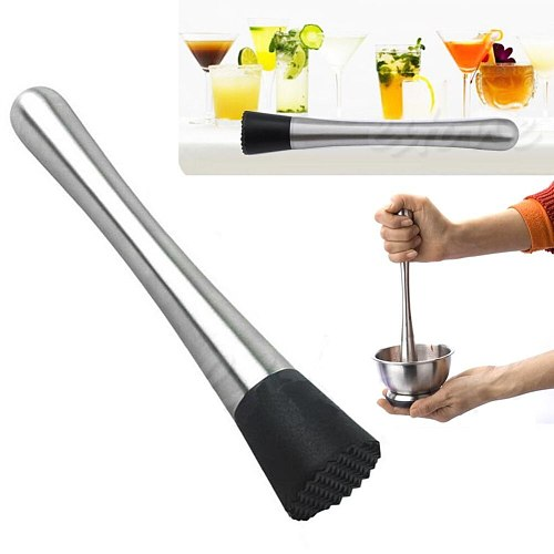 Cocktail Muddler Stainless Steel Plastic Bar Mixer Barware Drink Mojito Cocktail Bar Tools Silver Black Durable Easy Cleaning
